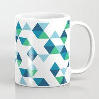 Triangles Blue and Green Mug