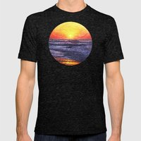 Ocean Sunrise Mens Fitted Tee Tri-Black SMALL