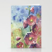 Hollyhocks - Pink Flowers Stationery Cards