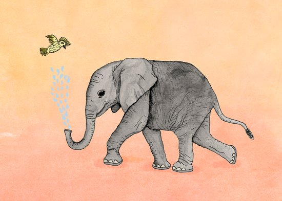 Elephant and the Bird Art Print