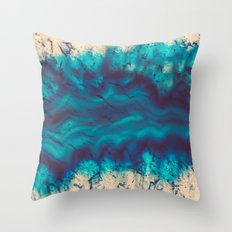 Blue Agate River of Earth Throw Pillow