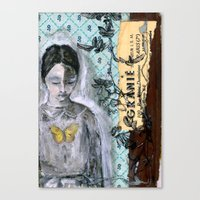 Vintage Book Cover Girl Canvas Print