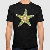 starfish flowers blue Mens Fitted Tee Tri-Black SMALL