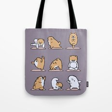 Pomeranian yoga Tote Bag