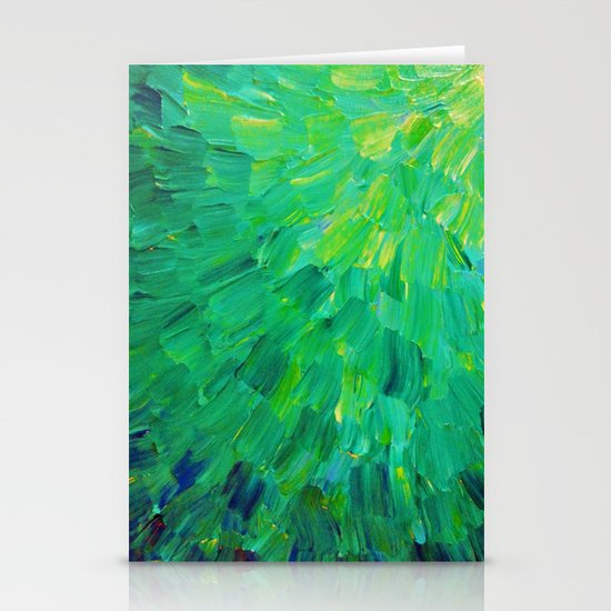 SEA SCALES in GREEN - Bright Green Ocean Waves Beach Mermaid Fins Scales Abstract Acrylic Painting Stationery Card
