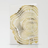 pattern Stationery Cards featuring Gold Tree Rings by Cat Coquillette