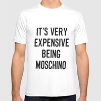 It's Very Expensive Being Moschino Mens Fitted Tee White SMALL