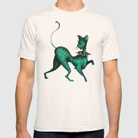Green Spotted Kitty Mens Fitted Tee Natural SMALL