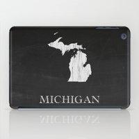 Michigan State Map Chalk Drawing iPad Case