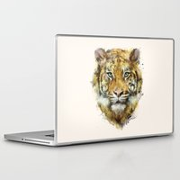 tiger Laptop & iPad Skins featuring Tiger // Strength by Amy Hamilton