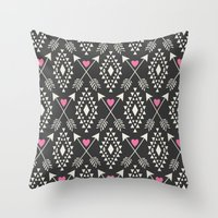 Tribal Aztec With Hearts… Throw Pillow