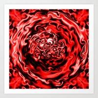 Red Swirl Topography Art Print