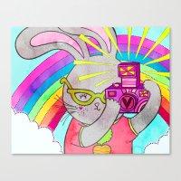 Bunny Rainbow Snapshots Canvas Print