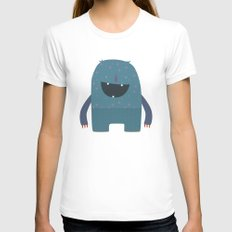 BLUE MONSTER Womens Fitted Tee White SMALL
