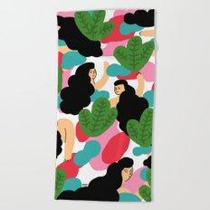 Girl Pattern Leaf Beach Towel