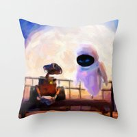 Wall-E & Eve - Painting Style Throw Pillow