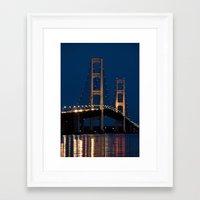 The Mackinaw Bridge at Night by the Straits of Mackinac between Lake Michigan and Lake Huron Framed Art Print