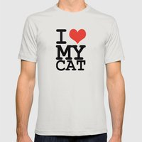 I love my cat Mens Fitted Tee Silver SMALL