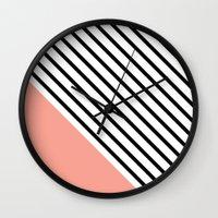 Diagonal Block - Pink Wall Clock
