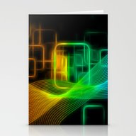 Abstract Glowing Lines Stationery Cards