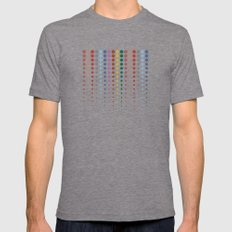 Dots XL2S in a Line Autumn Color - Living Hell Mens Fitted Tee Tri-Grey SMALL