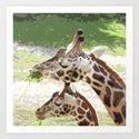 Giraffe Mother and Child Art Print