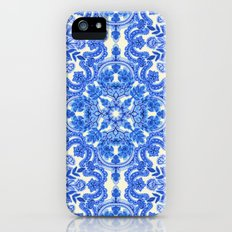 Cobalt Blue & China White Folk Art Pattern iPhone (5, 5s) Slim Case