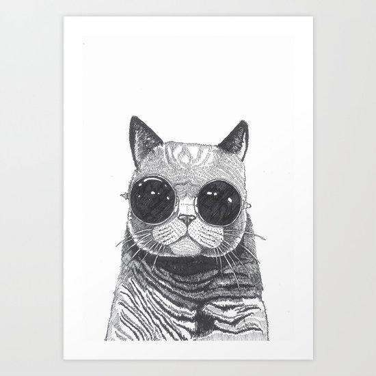 Cool Cat Art Print By Polkip Society6