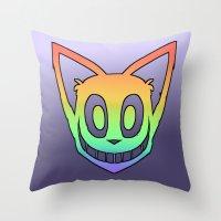 Rainbow Cat Head (black outline) Throw Pillow