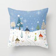 Throw Pillow featuring Christmas Night by Vero Gobet