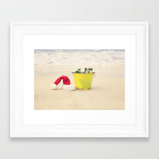 Santa Hat and Beach Beverage Framed Art Print