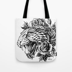 Ornate Leopard Black & W… Tote Bag