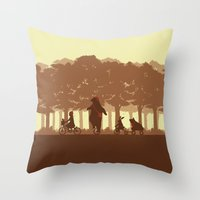 Biking With Friends Throw Pillow