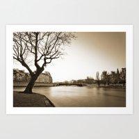 Winter Along The Seine Art Print