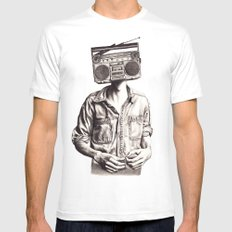 Radio-Head SMALL Mens Fitted Tee White