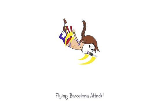 Flying Barcelona Attack Art Print