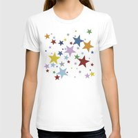 Multi Stars Black Womens Fitted Tee White SMALL