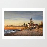 Point Betsie Lighthouse at Sunset on Lake Michigan near Frankfort Michigan No.66032 Fine Art Lightho Art Print
