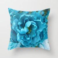 Aqua Blue Floral Abstract Throw Pillow