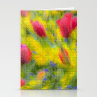 Pastel Summer Flowers Mosaic Stationery Cards