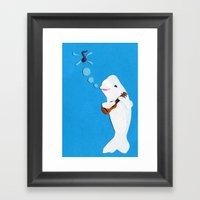 Beluga Whale Playing The… Framed Art Print
