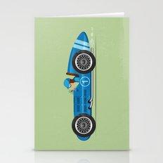 Blue Retro Racing Car Stationery Cards