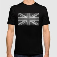 Union Jack Vintage retro style B&W 3:5 Mens Fitted Tee Black SMALL