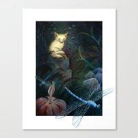 Fox Keeps Watch Through the Night Canvas Print
