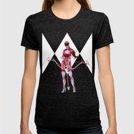 Pink Ranger Womens Fitted Tee Tri-Black SMALL