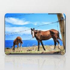 Horses against a blue sky iPad Case