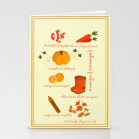 Colors: orange (Los colores: naranja) Stationery Cards