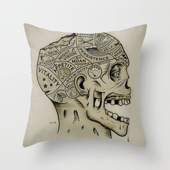 Zombie Phrenology Throw Pillow