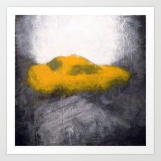 TAXI seen through a foggy window Art Print