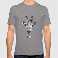 Portrait of Giraffe Mens Fitted Tee Tri-Grey SMALL